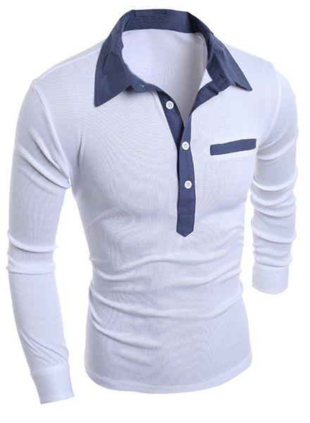 Chambray Splicing Turn-Down Collar Long Sleeve Buttons Men's Polo T-Shirt - WHITE M