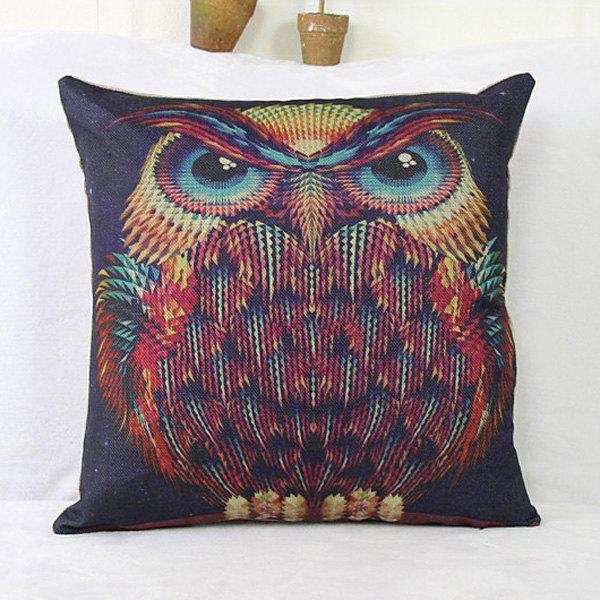 Fashion  Linen Owl Pattern Square Decorative Pillowcase(Without Pillow Inner)