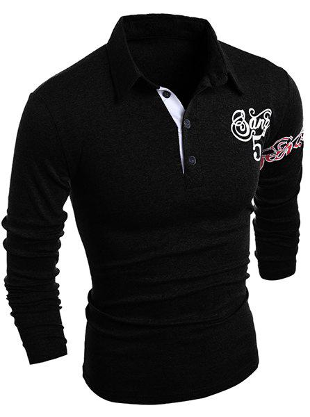 Letter and Horse Printed Turn-Down Collar Long Sleeve Buttons Men's Polo T-Shirt - BLACK L