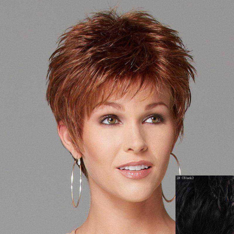 Spiffy Short Side Bang Fashion Shaggy Wavy Capless Human Hair Wig For Women - BLACK