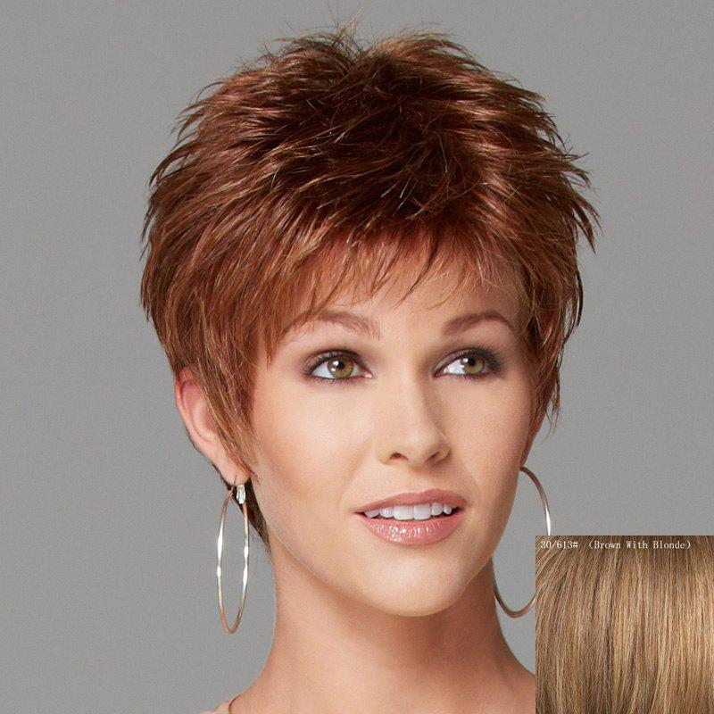 Spiffy Short Side Bang Fashion Shaggy Wavy Capless Human Hair Wig For Women - BROWN/BLONDE