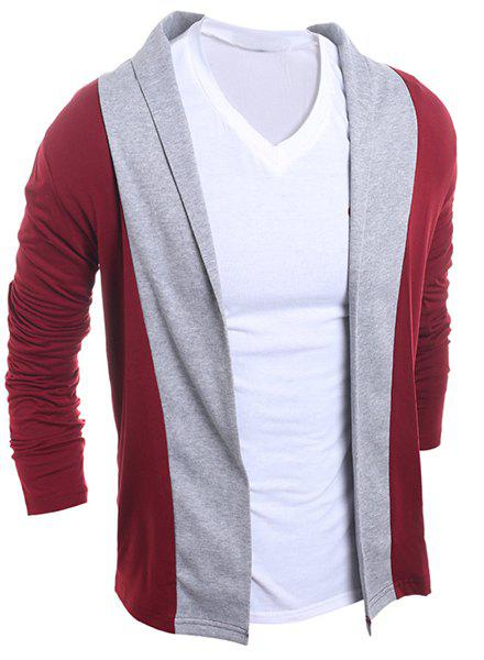 Color Block Splicing Turn-Down Collar Long Sleeve Men's Cardigan - WINE RED M