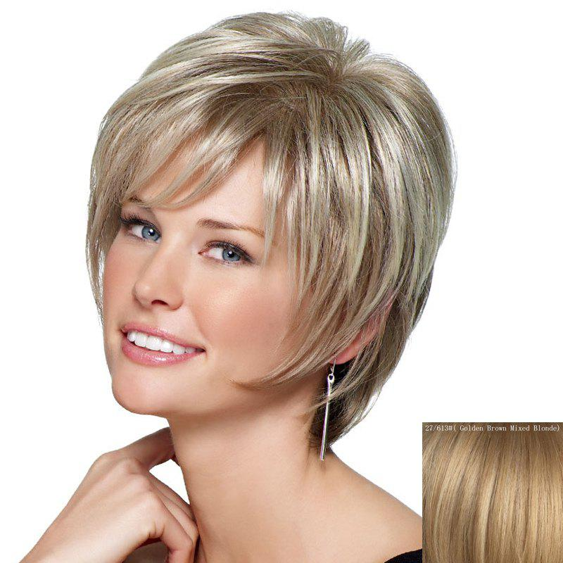 Fluffy Natural Straight Attractive Inclined Bang Stylish Short Women's Capless Human Hair Wig - ASH BLONDE /