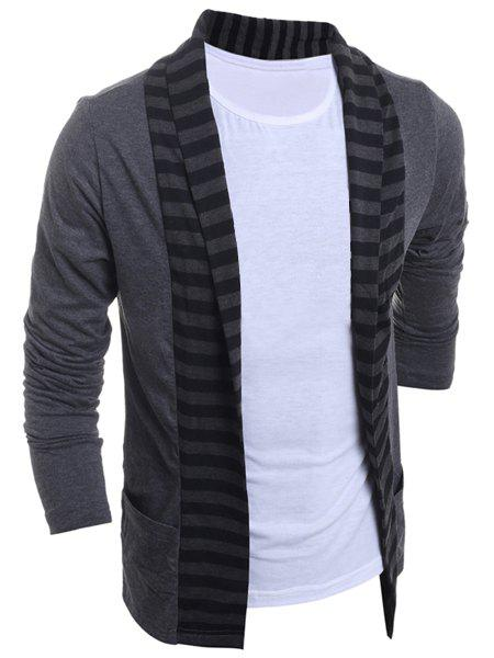Color Block Splicing Turn-Down Collar Stripe Long Sleeve Men's Cardigan - GRAY M
