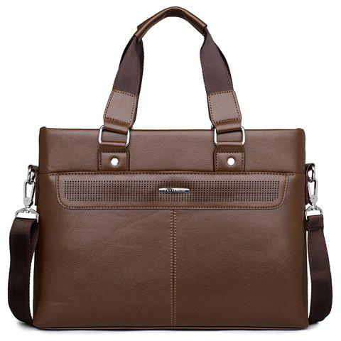 Concise Solid Color and Stitching Design Briefcase For Men - BROWN