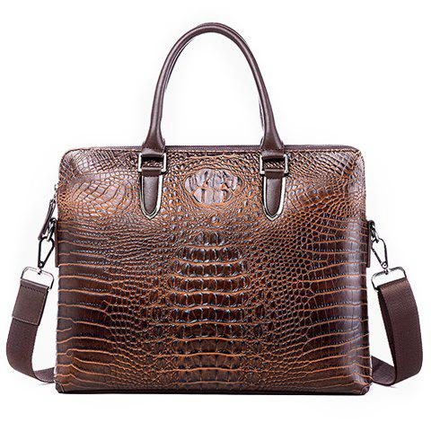 Stylish Crocodile Print and Solid Color Design Briefcase For Men - DEEP BROWN