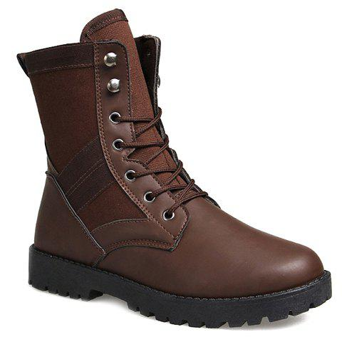 Trendy Splicing and Solid Color Design Boots For Men - BROWN 41