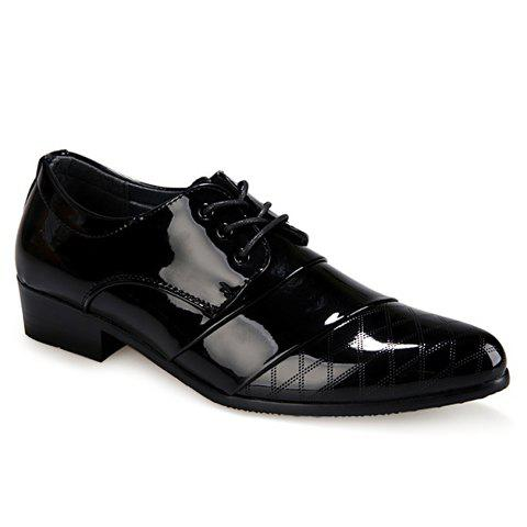 Stylish Patent Leather and Checked Design Formal Shoes For Men - 42 BLACK