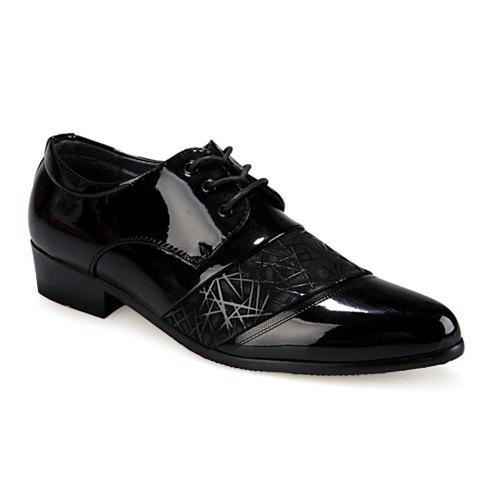 Stylish Geometric Pattern and Black Design Formal Shoes For Men - BLACK 39