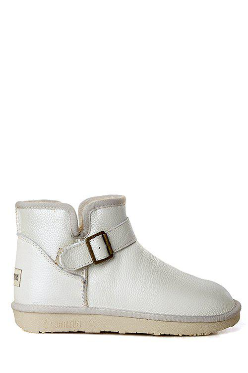 Laconic Buckle and Plush Design Women's Snow Boots - WHITE 39
