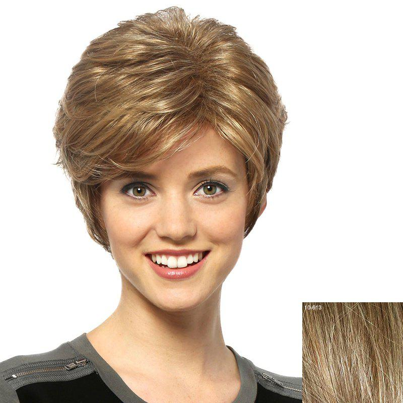 Shaggy Curly Spiffy Short Capless Assorted Color Side Bang Real Natural Hair Wig For Women - LIGHT CHOCOLATE