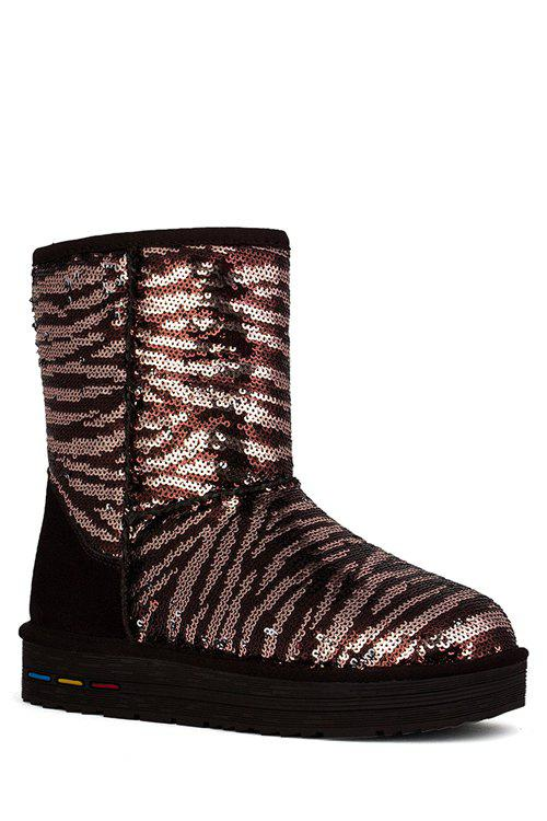 Trendy Sequined and Color Block Design Women's Snow Boots