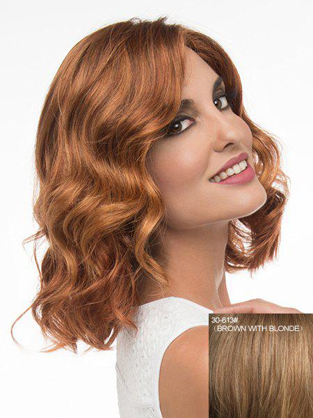 Fluffy Wavy Charming Side Parting Fashion Medium Women's Capless Human Hair Wig - BROWN/BLONDE