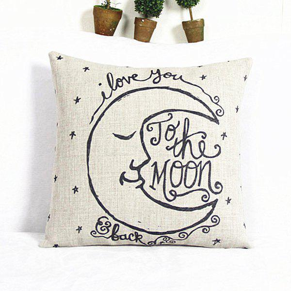 Cartoon Square Moon Pattern Decorative Pillowcase(Without Pillow Inner) - WHITE/BLACK