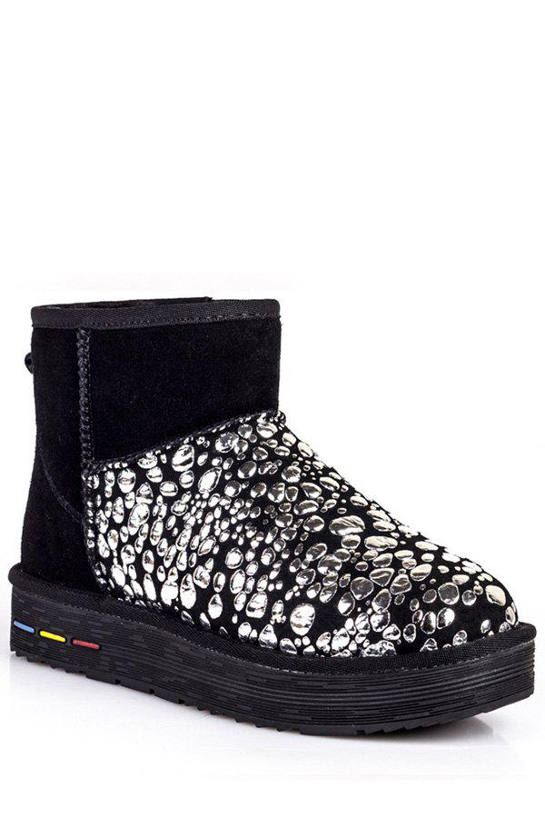 Trendy Bubble Pattern and Splicing Design Women's Snow Boots - SILVER 40