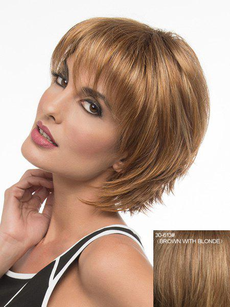 Shaggy Natural Straight Elegant Short Stylish Full Bang Women's Capless Real Human Hair Wig - BROWN/BLONDE