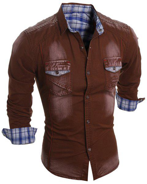 Bleach Wash Turn-Down Collar Plaid Lining Long Sleeve Pocket Men's Denim Shirt - COFFEE 2XL