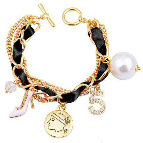 Delicate Faux Pearl High Heeled Shoe Layered Charm Bracelet For Women
