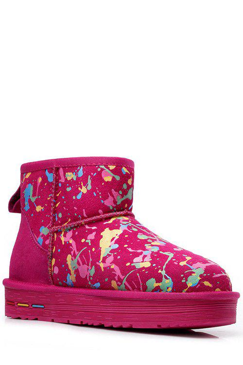 Trendy Graffiti and Color Matching Design Women's Snow Boots - ROSE 39