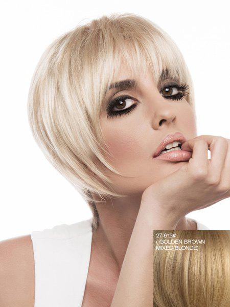 Attractive Neat Bang Capless Trendy Short Silky Straight Women's Real Natural Hair Wig - ASH BLONDE /