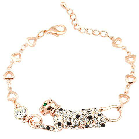 Fashionable Rhinestoned Leopard Bracelet For Women - GOLDEN