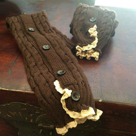 Pair of Chic Button Lace Edge Hemp Flowers Knitted Leg Warmers For Women -  COFFEE