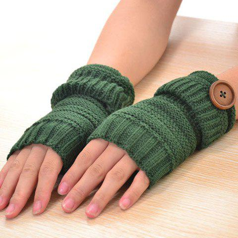 Pair of Chic Button and Stripy Embellished Flanging Knitted Fingerless Gloves For Women