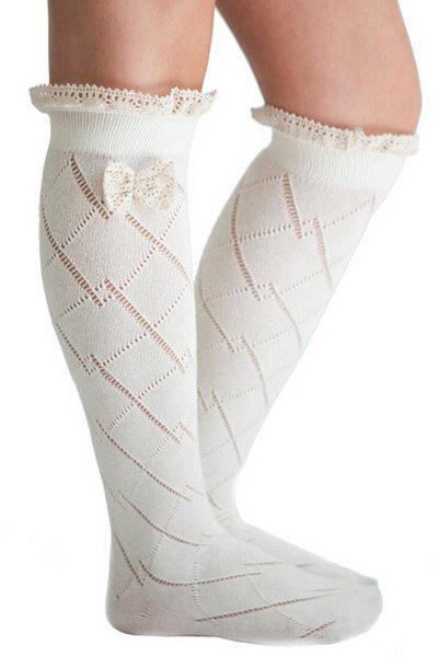 Pair of Chic Bow and Lace Embellished Stockings For Women - WHITE