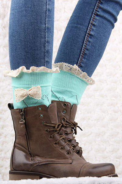 Pair of Chic Bow and Lace Embellished Stockings For Women - MINT GREEN