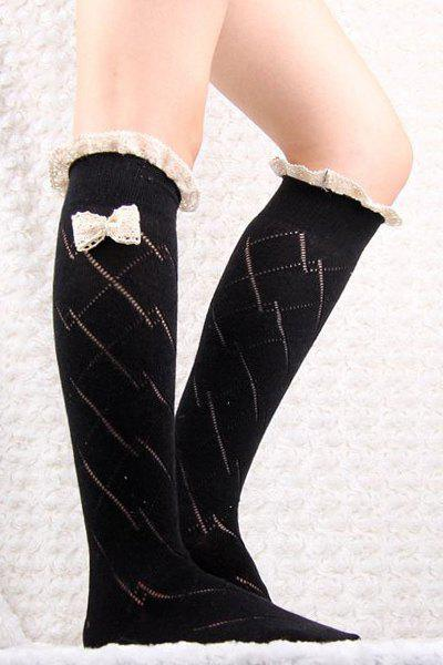 Buy Pair Chic Bow Lace Embellished Stockings Women BLACK