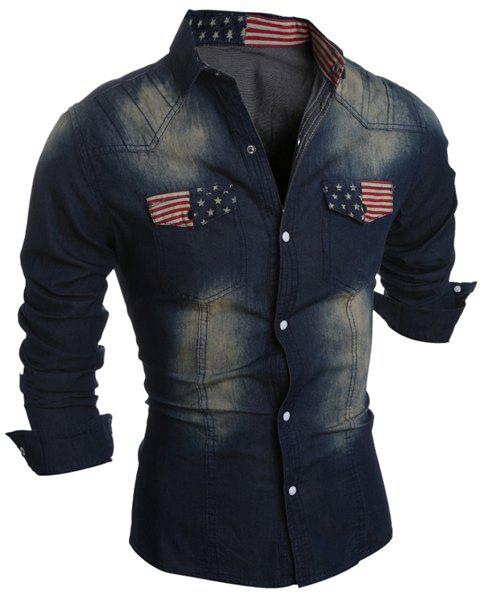 Bleach Wash Turn-Down Collar Flag Print Long Sleeve Pocket Men's Denim Shirt - L DEEP BLUE