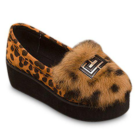 Fashion Faux Fur and Suede Design Platform Shoes For Women