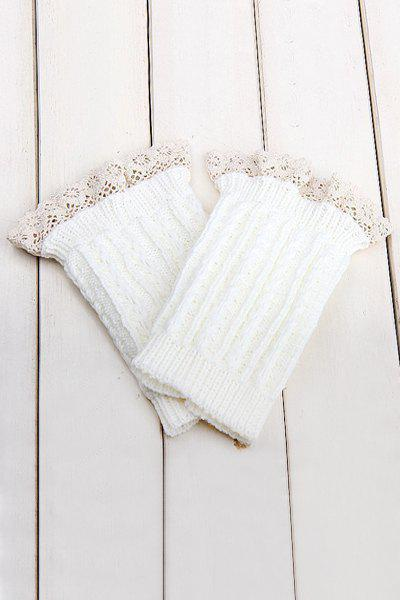 Pair of Chic Lace Embellished Herringbone Knitted Boot Cuffs For Women kumik 1 6 scale double person sofa model 1 6 figure scene accessory ac 16 black long fit 12 inch phicen action figure in stock