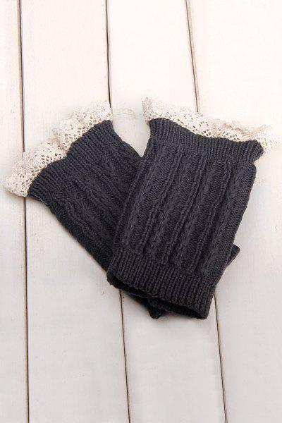 Pair of Chic Lace Embellished Herringbone Knitted Boot Cuffs For Women - DEEP GRAY