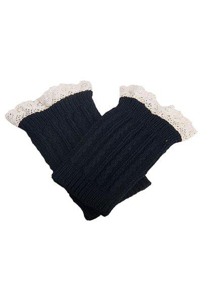 Pair of Chic Lace Embellished Herringbone Knitted Boot Cuffs For Women - BLACK