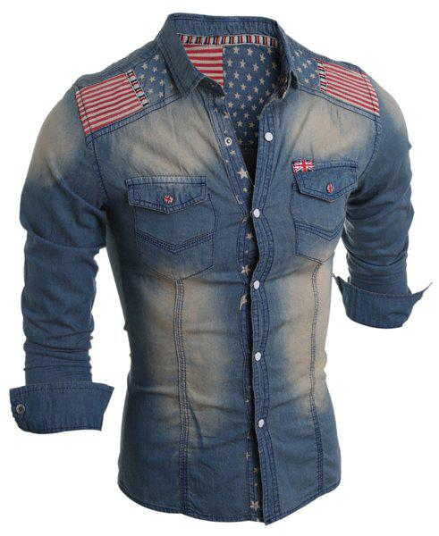 Bleach Wash Turn-Down Collar Stars Print Long Sleeve Stripe Splicing Men's Denim Shirt - LIGHT BLUE XL