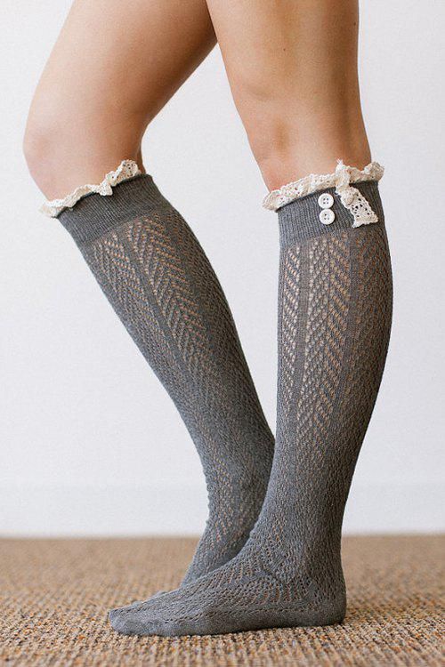 Pair of Chic Button and Lace Embellished Herringbone Stockings For Women - GRAY