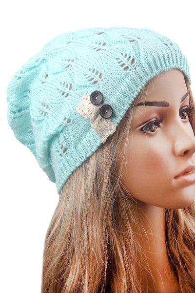 Button Hollow Out Toboggan Hat - MINT GREEN