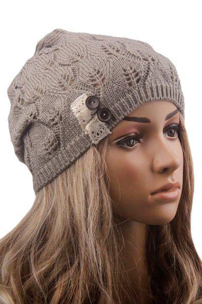 Chic Button Hollow Out Knitted Beanie For Women - LIGHT GRAY