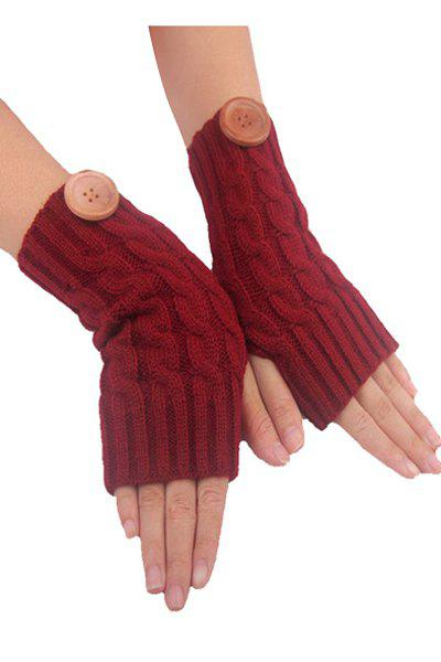 Pair of Chic Big Button Hemp Flowers Knitted Fingerless Gloves For Women - CLARET