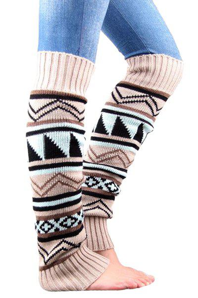 Pair of Chic Bohemian Geometric Pattern Knitted Leg Warmers For Women -  OFF WHITE