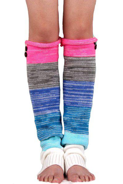 Pair of Chic Button Mixed Color Knitted Leg Warmers For Women - ROSE
