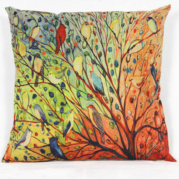Cartoon Bird Pattern Decorative Pillowcase(Without Pillow Inner) - COLORMIX