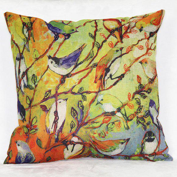 Modern Square Linen Bird Pattern Decorative Pillowcase(Without Pillow Inner) - COLORMIX