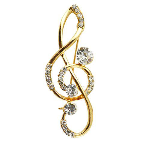 Classic Rhinestoned  Note Brooch For Women - GOLDEN