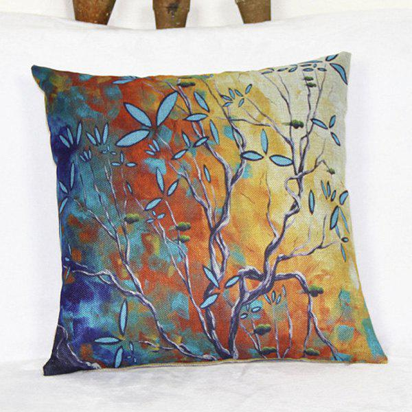 Modern Square Linen Tree Pattern Decorative Pillowcase(Without Pillow Inner) - COLORMIX