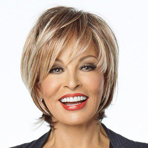 Blonde Mixed Brown Shaggy Inclined Bang Attractive Short Straight Synthetic Women's Wig short pixie cut capless straight inclined bang synthetic wig