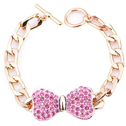 Rhinestoned Bow Chain Bracelet - RANDOM COLOR