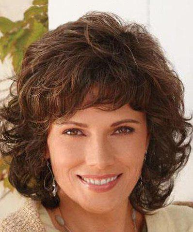 Fluffy Curly Full Bang Capless Vogue Deep Brown Synthetic Elegant Medium Women's Wig non mainstream mix color medium curly neat bang fluffy women s synthetic wig