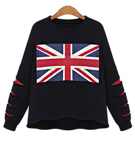 Chic Union Flag Printed Broken Hole Black Pullover Sweatshirt For Women - BLACK 4XL